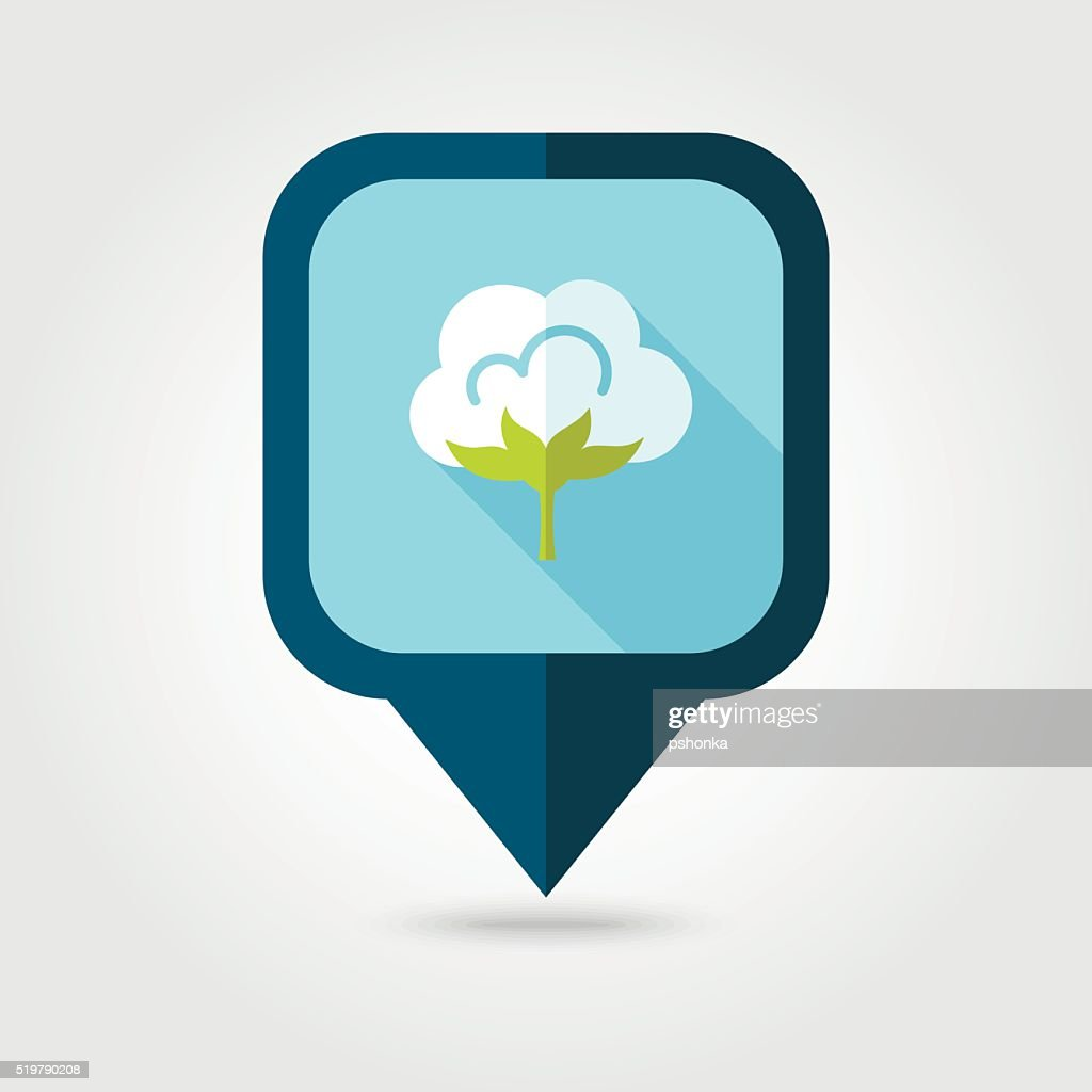 Cotton flat pin map icon. Map pointer