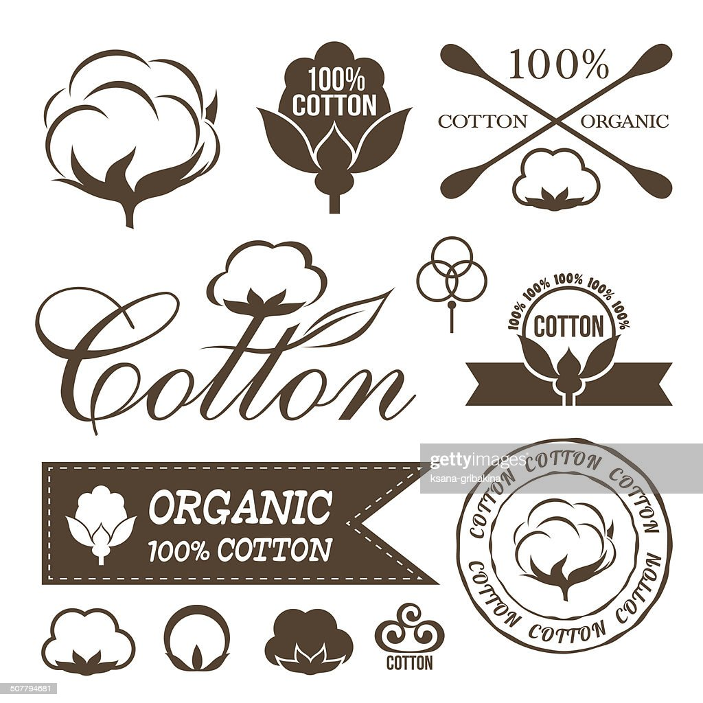 Cotton icons set.