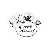 Cotton label. Natural material sign with cotton flower boll. Flo