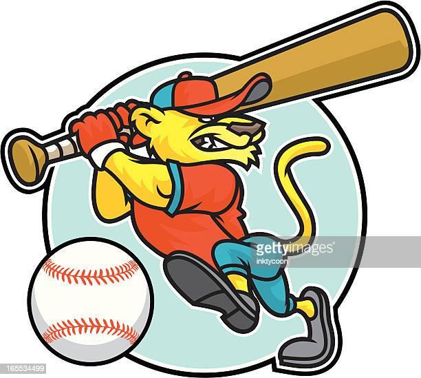 bildbanksillustrationer, clip art samt tecknat material och ikoner med cougar batter - basebollslag