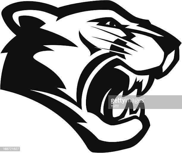 ilustraciones, imágenes clip art, dibujos animados e iconos de stock de cougar cabezal b & w mascot - puma