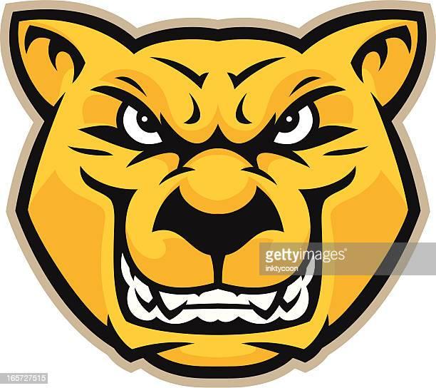 ilustraciones, imágenes clip art, dibujos animados e iconos de stock de cabezal cougar - puma