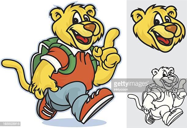 ilustraciones, imágenes clip art, dibujos animados e iconos de stock de cougar kid ejecución - puma
