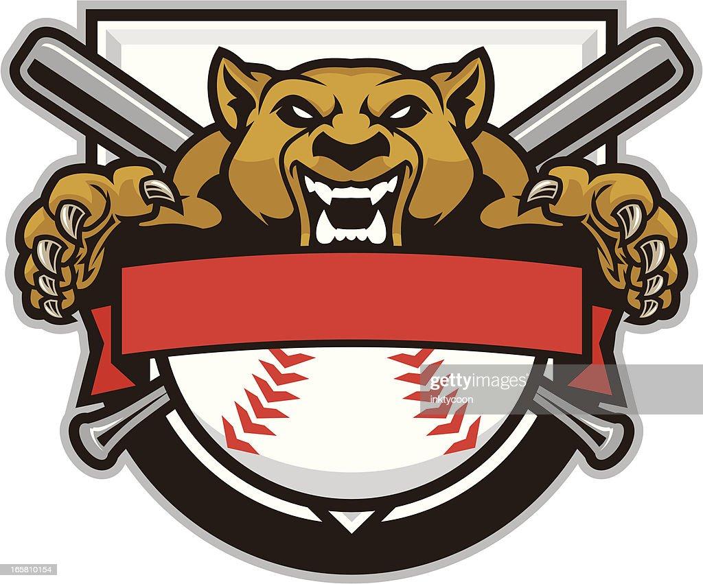 Cougar Mascot Baseball