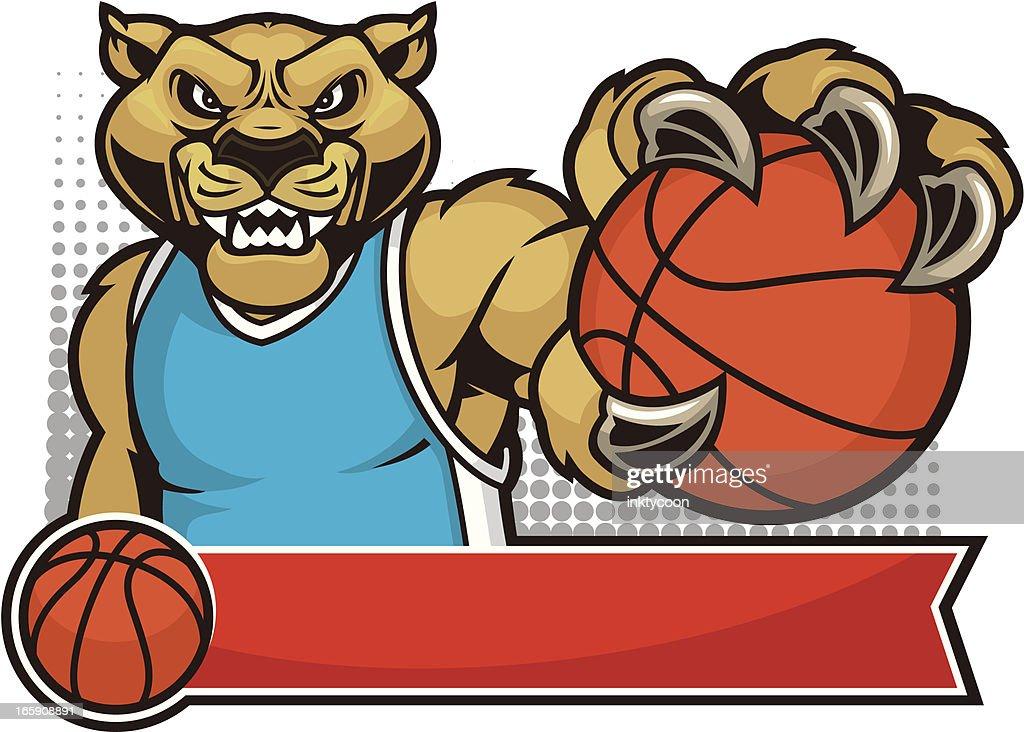 Cougar Mascot Basketball