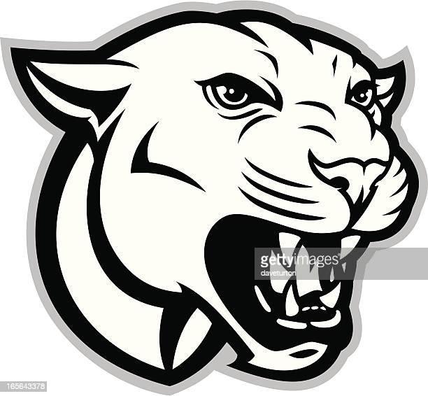 ilustraciones, imágenes clip art, dibujos animados e iconos de stock de cougar o panther cabezal b & w - puma