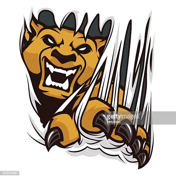 ilustraciones, imágenes clip art, dibujos animados e iconos de stock de cougar ripping a material - puma