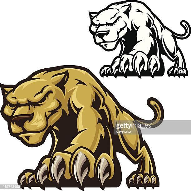 ilustraciones, imágenes clip art, dibujos animados e iconos de stock de cougar acechar - puma