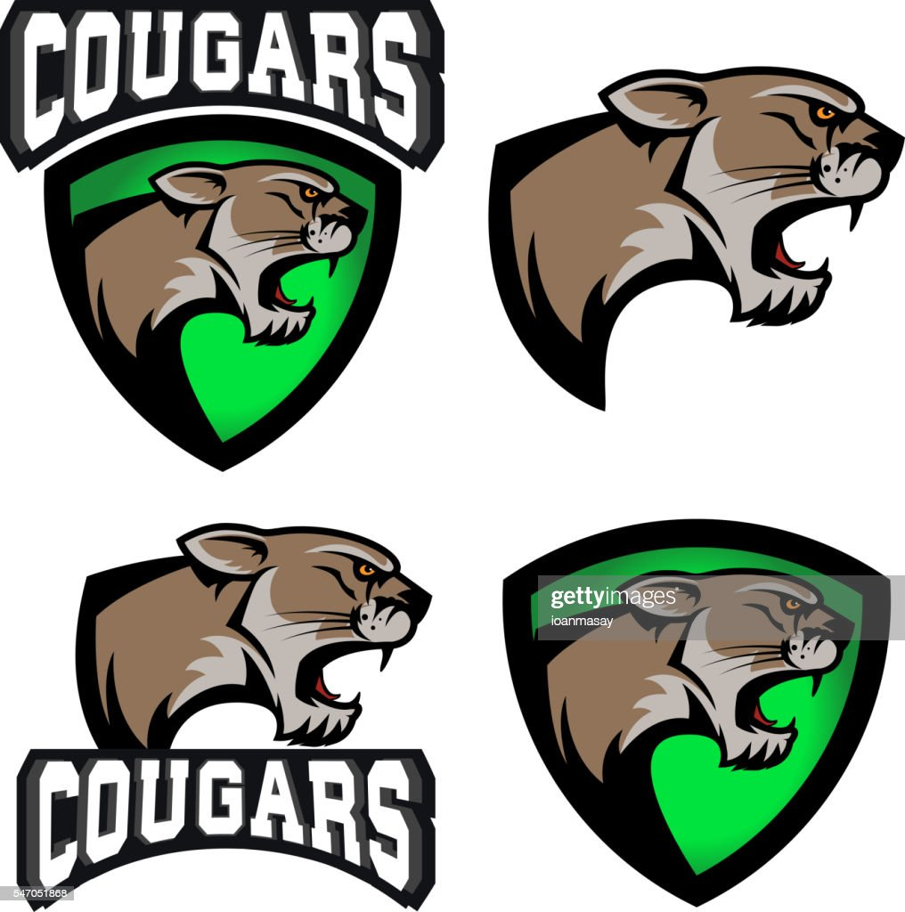 cougars.  sport team emblem template.