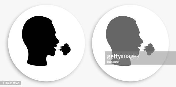 cough black and white round icon - coughing stock illustrations