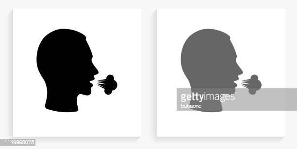 cough black and white square icon - cough stock illustrations