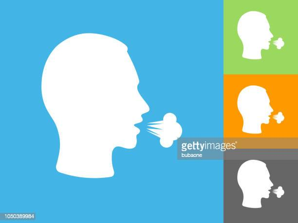 cough  flat icon on blue background - coughing stock illustrations