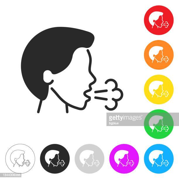 cough. flat icons on buttons in different colors - saliva bodily fluid stock illustrations