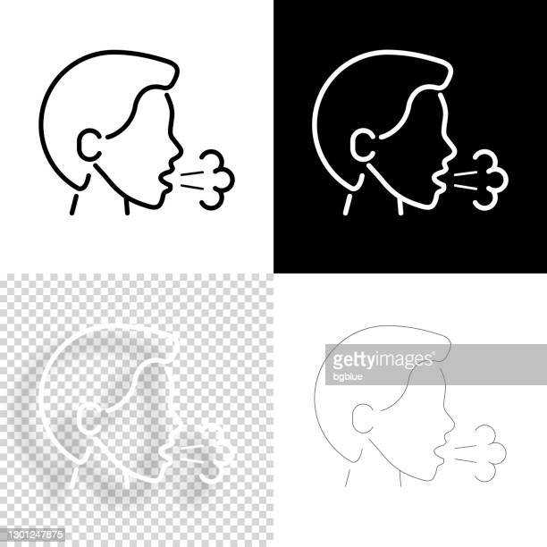 cough. icon for design. blank, white and black backgrounds - line icon - saliva bodily fluid stock illustrations