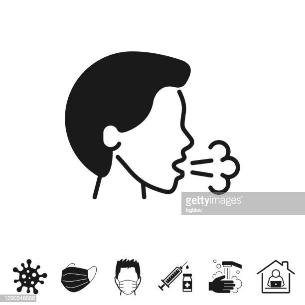 cough. icon for design on white background - inhaling stock illustrations