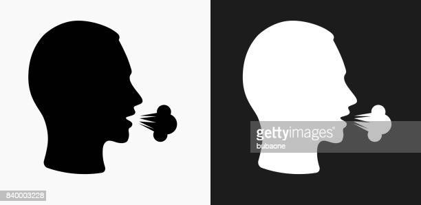 cough icon on black and white vector backgrounds - coughing stock illustrations