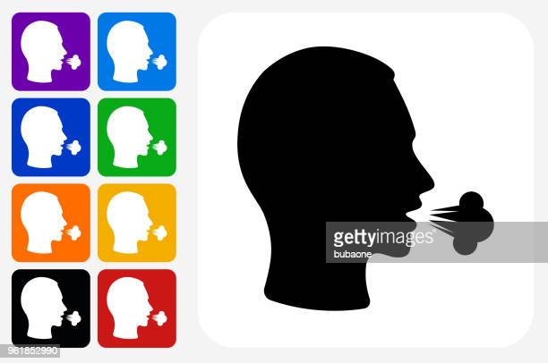 cough icon square button set - cough stock illustrations