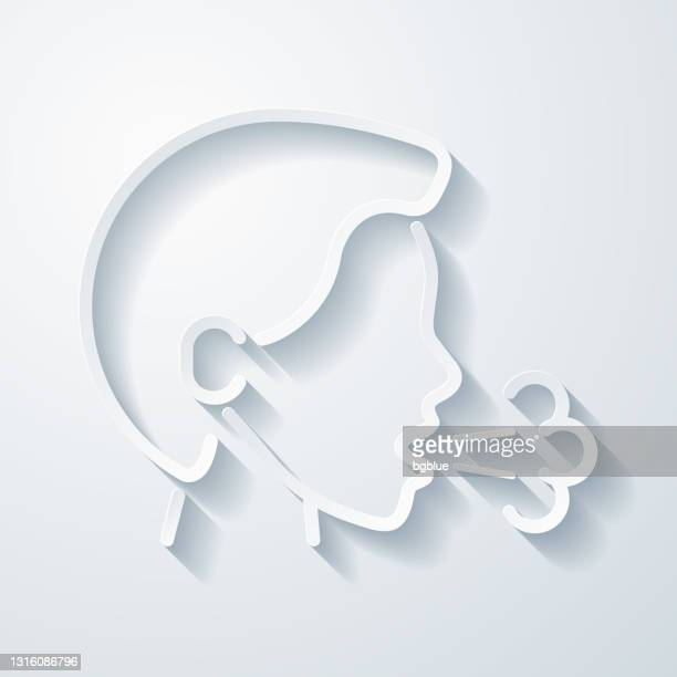 cough. icon with paper cut effect on blank background - saliva bodily fluid stock illustrations