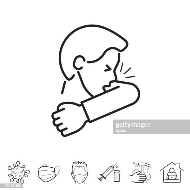 咳やくしゃみを肘に入る。線アイコン - 編集可能ストローク - 咳をする点のイラスト素材/クリップアート素材/マンガ素材/アイコン素材