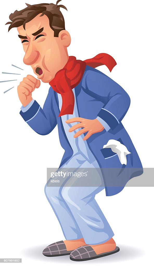 Coughing Ill Man : stock illustration