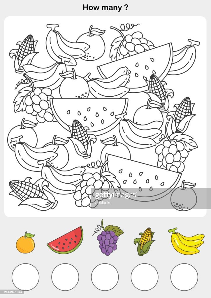 Count and painting color the fruits