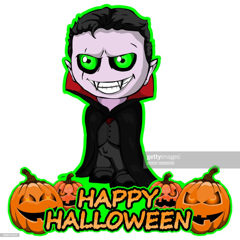 Count Dracula wishes Happy Halloween on an isolated white background