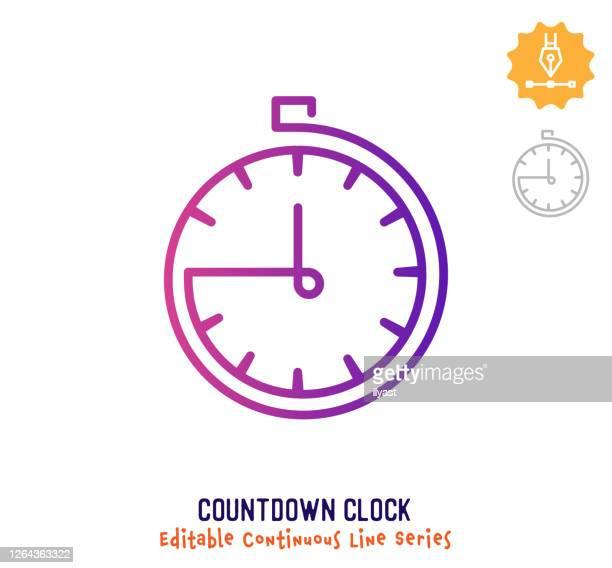 countdown clock continuous line editable stroke icon - stoppuhr stock-grafiken, -clipart, -cartoons und -symbole