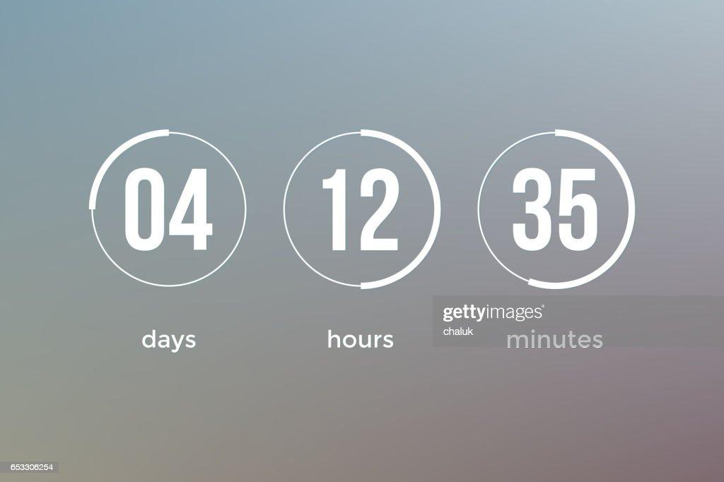 Countdown clock timer web site template vector design