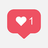 Counter, follower notification symbol instagram. Buton for social media
