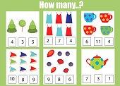 Counting educational children game, kids activity worksheet. How many objects