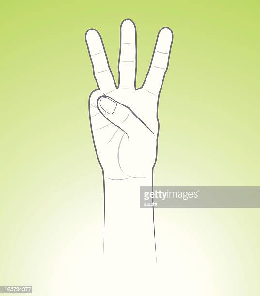 counting hand three - three people stock illustrations