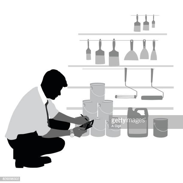 counting inventory - retail display stock illustrations
