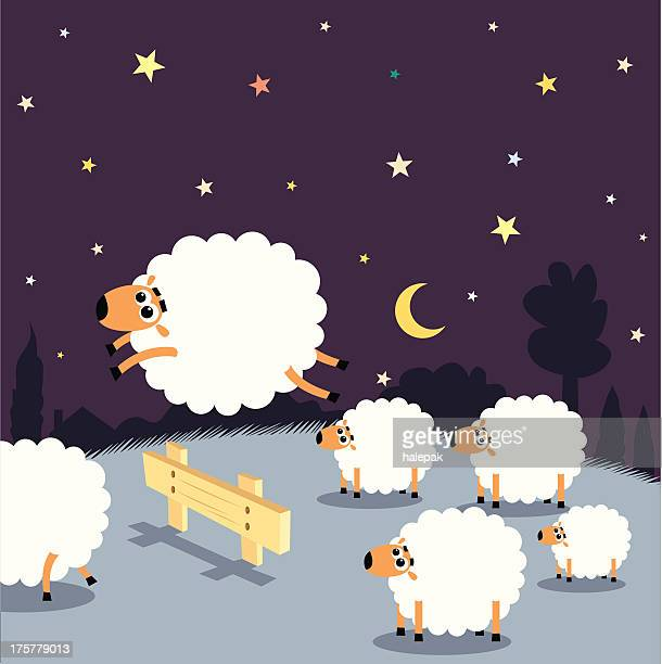 counting sheep: insomnia - sheep stock illustrations, clip art, cartoons, & icons