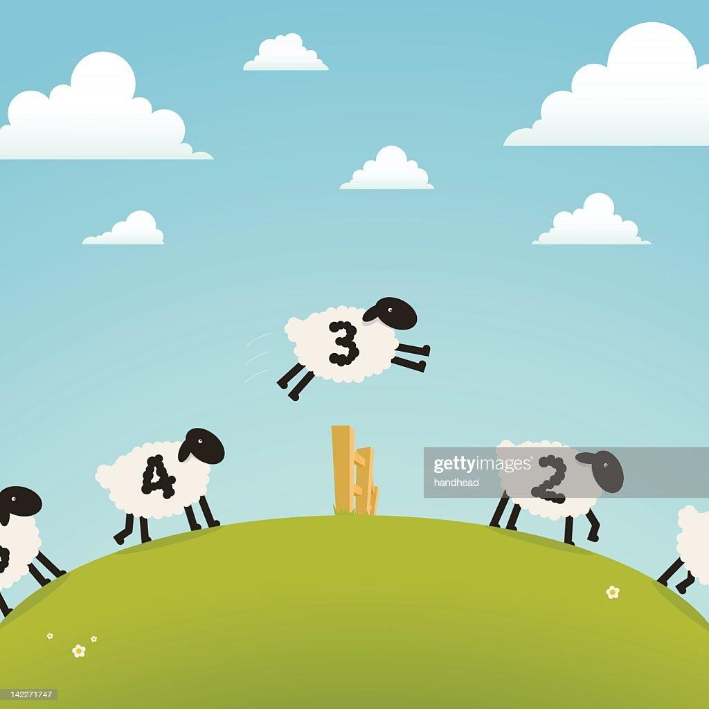 Counting sheep (sleep concept) : stock illustration