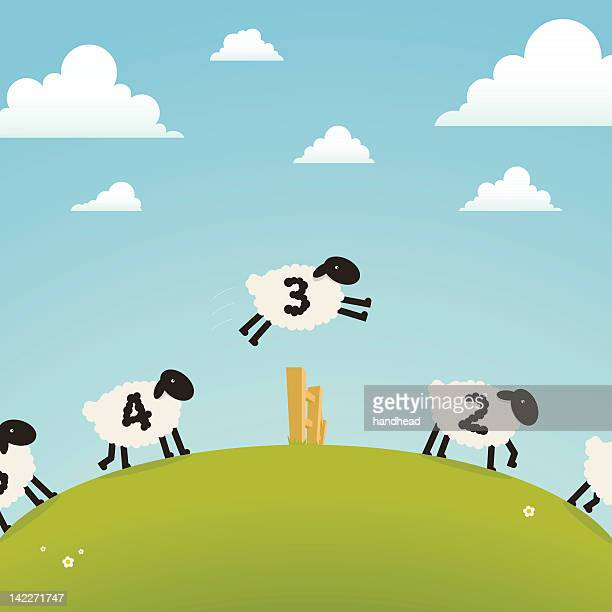 counting sheep (sleep concept) - sheep stock illustrations, clip art, cartoons, & icons