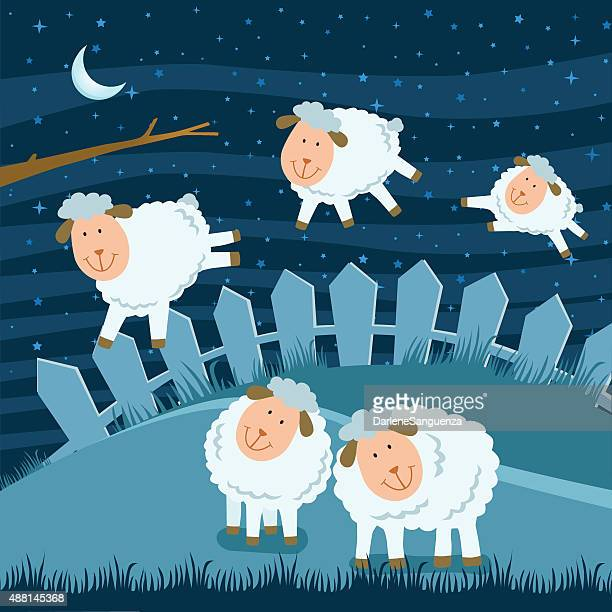 counting sheep - sheep stock illustrations, clip art, cartoons, & icons