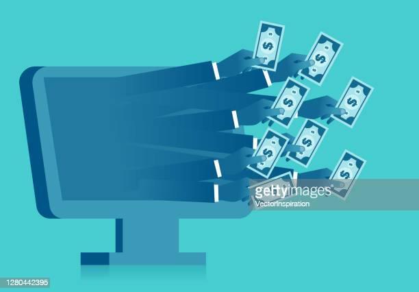 stockillustraties, clipart, cartoons en iconen met talloze handen die binnen het computerscherm het houden van geld, de illustratie van de schuldsbelastingleningen uitstrekken - lening