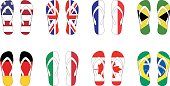8 countries flag slippers Vector illustration