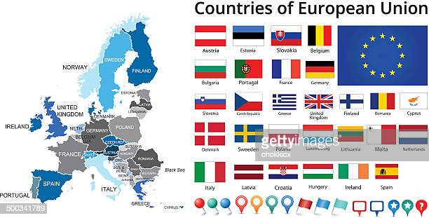 countries of european union flags and maps - all european flags stock illustrations