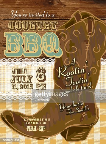 Country And Western Bbq With Cowboy Boot Invitation Design ...