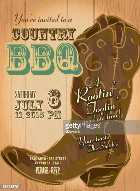 country and western bbq with cowboy boot invitation design template - country and western stock illustrations
