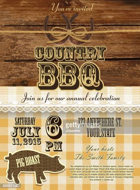 ilustrações de stock, clip art, desenhos animados e ícones de country e western bbq com design de modelo de convite de porco - rodeio