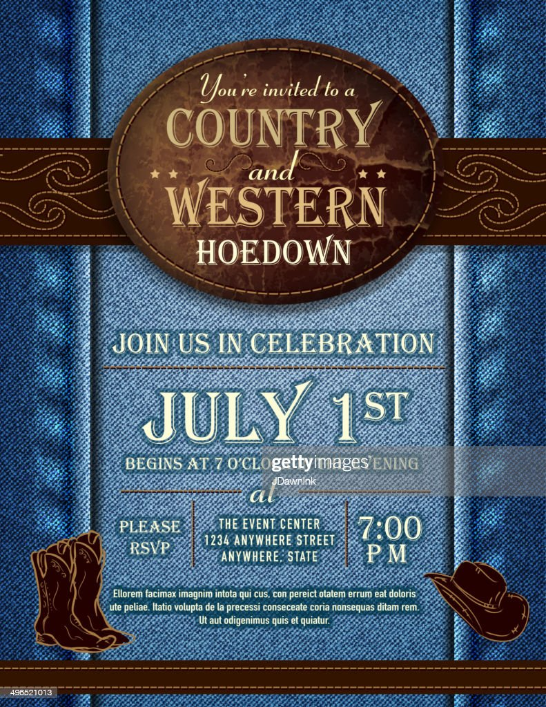 Country and western hoedown denim and leather invitation design template