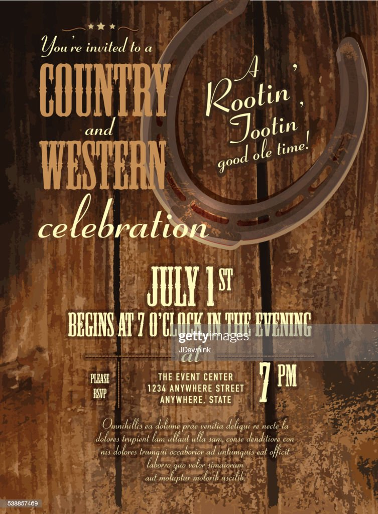 Country and western horseshoe and rustic wooden design invitation