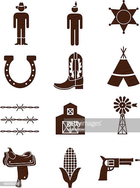 País y región occidental de iconos woodgrain: Serie una