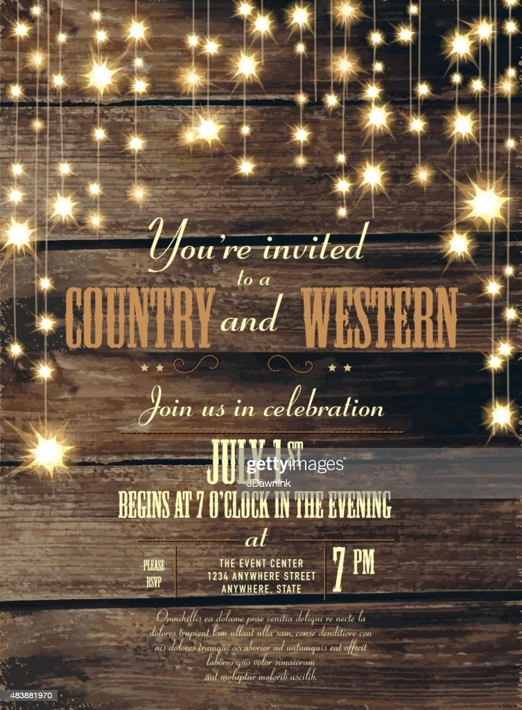 country and western invitation design template string