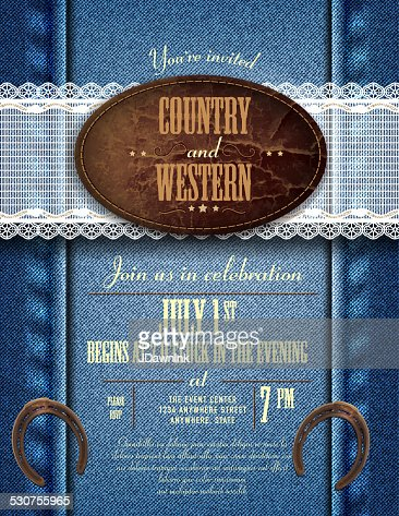 Country And Western Invitation Design Template Vector Art Getty