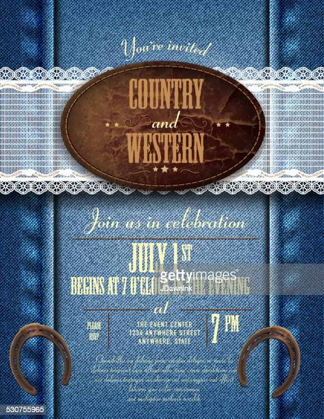Country and western invitation design template