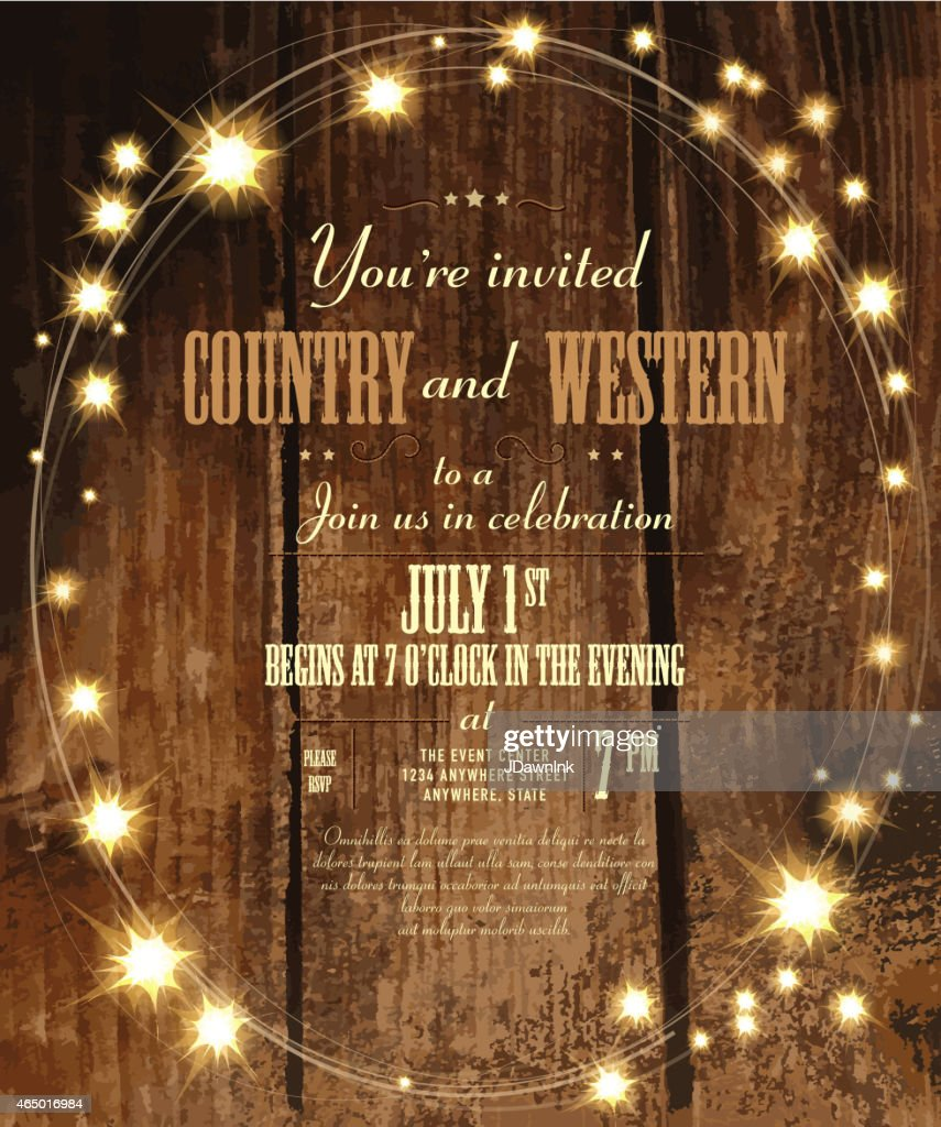 Country and western invitation design template with oval string lights