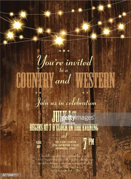 country and western invitation design template with string lights - rustic stock illustrations